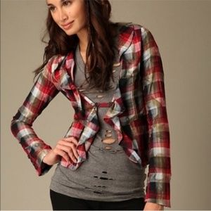 Free People Jackets & Coats - Free People Plaid Cascading Liberty Jacket